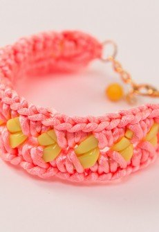 Handmade knitted bracelet from hot pink satin cord and bright yellow plastic chain