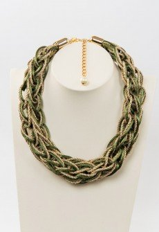 Autumn leaves-Handmade knitted necklace from olive green satin cord and gold colored twisted cord.