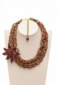 Handmate knitted leather necklace with leather decorative flower detachable brooch in shades of brown