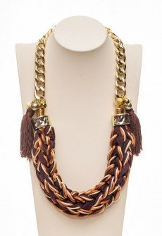 Brown surprise-Handmade statement necklace in brown shades from polyester,satin and lycra cord with decorative tassels, CCB decorative elements and chain in gold color