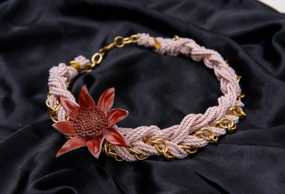 Short handmade braided necklace from twisted cord and gold tone chain with detachable leather flower brooch