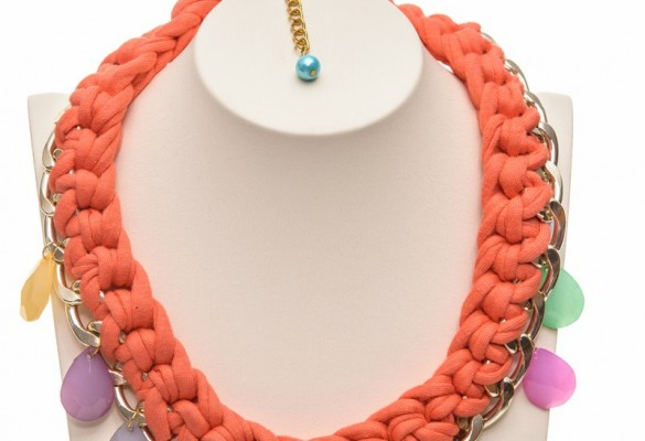 Short handmade knitted necklace from orange fabric cord and gold tone chain with acrylic teardrops in many colors