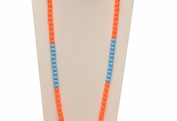 Long handmade necklace in orange, blue and white with decoratine elements
