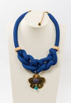 Blue mountains - Handmade necklace from blue climber's cord with decorative elements