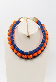 Blue meets orange  - Handmade necklace with blue climbing rope and orange beads