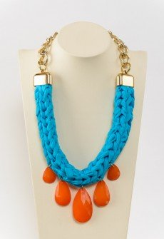 Artemis-Handmade knitted statement necklace from blue lycra cord, orange acrylic teardrops and gold colored chain