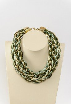 Athina-Handmade knitted satin cord necklace in shades of green