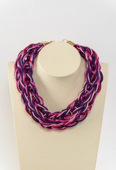 Bold in fuchsia, pink and purple-Handmade knitted necklace for bold girls who love pink.