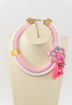 Be girly - Handmade necklace from white and pink climbing cord
