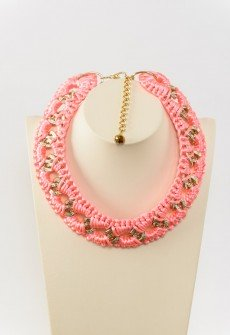 Bold in pink - Handmade knitted necklace with gold colored chain and pink satin cord.