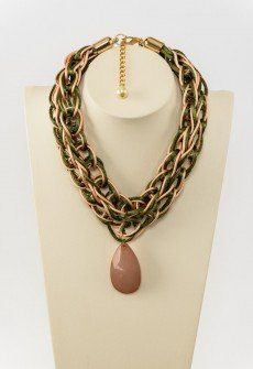 Beautiful simplicity-Handmade knitted necklace from olive green satin and salmon cord